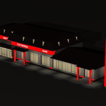 Ночная подсветка комплекса. Трехмерная визуализация. Вид с высоты птичьего полета
