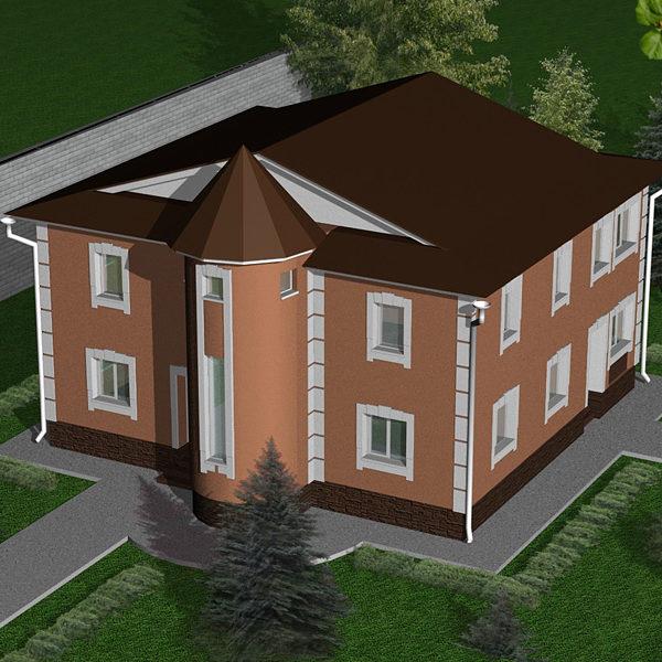 Один из цветовых и материальных вариантов оформления фасада. Трехмерная визуализация