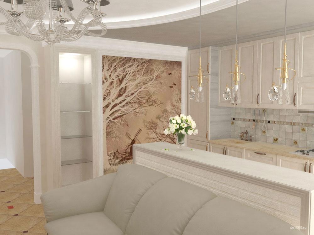 Дизайн интерьера в Орле. Часть интерьера гостиной. Трехмерная визуализация