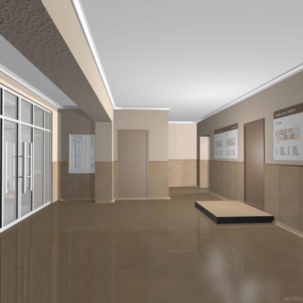 Дизайн интерьера вестибюля. Трехмерная визуализация