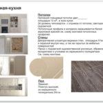 Ведомость материалов отделки гостиной-кухни. Часть дизайн-проекта