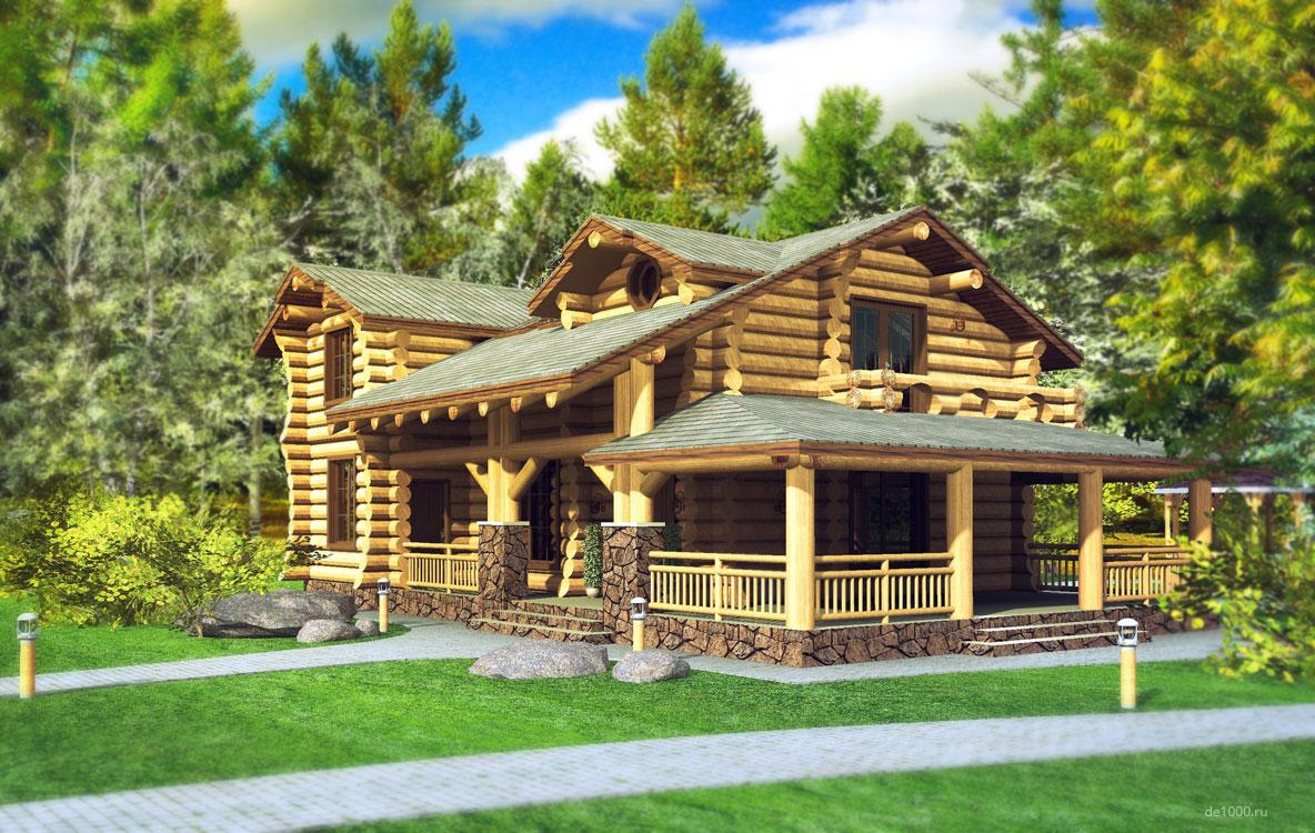 Деревянный сруб. Дизайн-проект загородного дома. Трехмерная визуализация