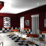 Дизайн интерьера кафе. Трехмерная визуализация