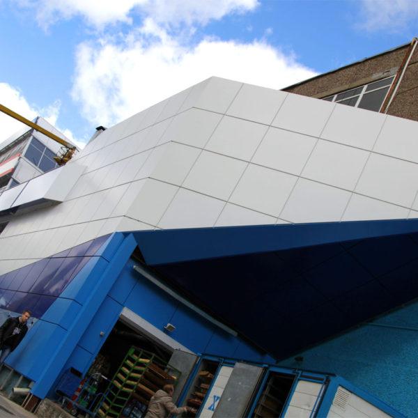 Вентилируемый фасад, наружная реклама для торгового центра Атолл в Орле