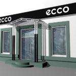 Дизайн рекламного оформления экстерьера магазина ECCO в Орле