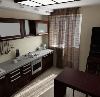 Дизайн интерьера загородного дома в Орле. Кухня. Трехмерная визуализация