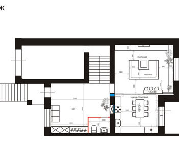 Один из чертежей дизайн проекта интерьера загородного дома