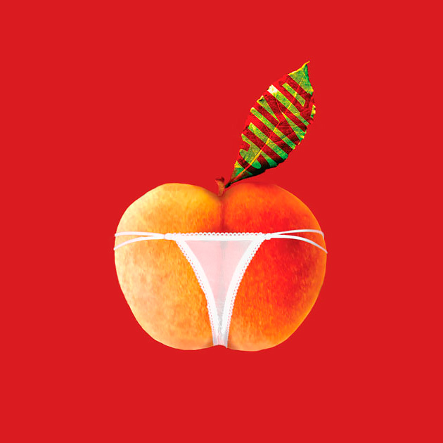 """Социальный плакат против СПИДА """"Не каждый персик внутри спелый"""""""