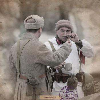 Битва под Москвой, 1941 год. Реконструкция. Ретушь.