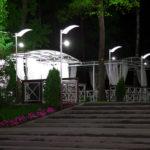 Фуршетная зона парк-отеля Мечта. Дизйан, производство, монтаж под ключ. Беседки, освещение, ограждения, скамейки, столы