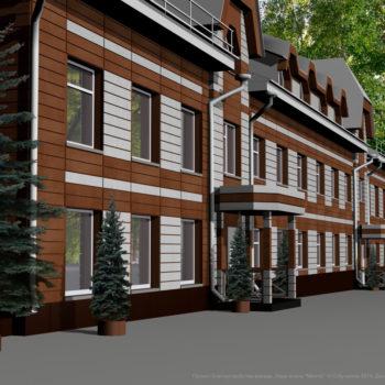 Проект благоустройства фасада. Вентилируемый фасад корпуса гостиницы парк-отеля Мечта в Орле. Дизайн, производство, монтаж под ключ