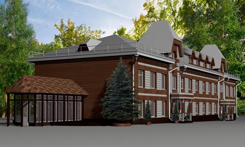 Вентилируемый фасад корпуса гостиницы парк-отеля Мечта в Орле. Дизайн, производство, монтаж под ключ