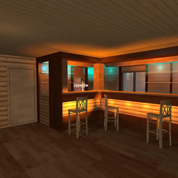 Бар. Дизайн интерьера зоны бара в охотничьем домике