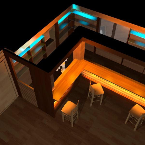 Трехмерная визуализация бара. Вид сверху
