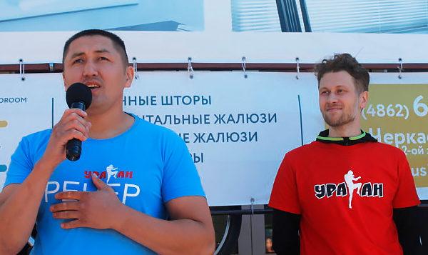 Основатели клуба Ураган, Уранбек Есенкулов и Владмир Стебаков на открытии клуба