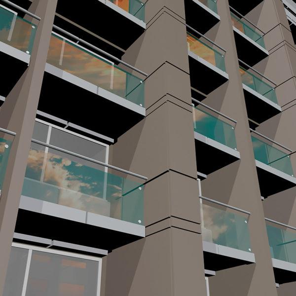 Ограждения балконов предложено выполнить из стекла