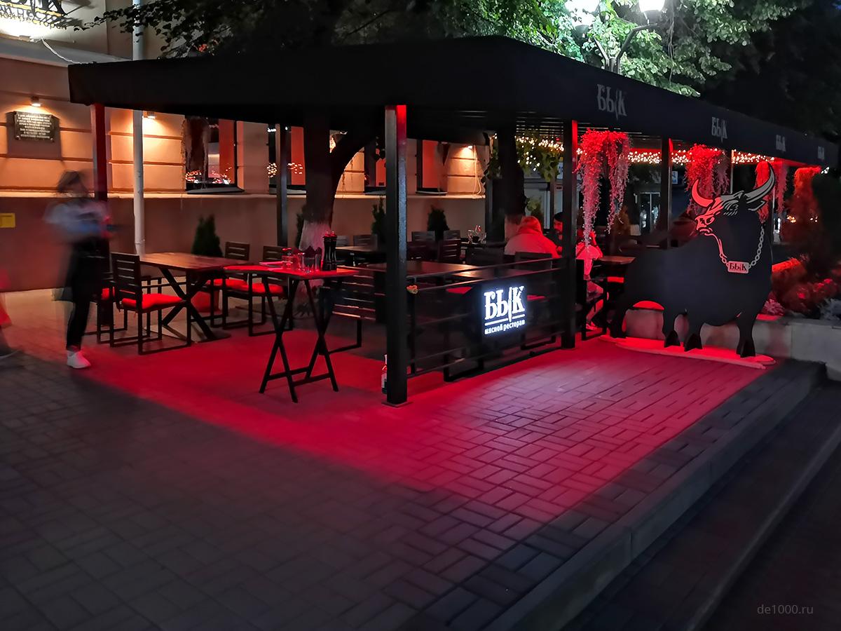 Ресторан Бык в Орле. Изготовление и монтаж летнего кафе под ключ