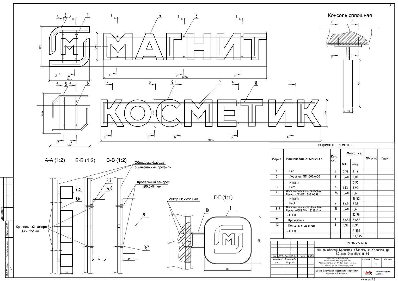Часть рабочего проекта по рекламным и информационным конструкциям сети Магнит